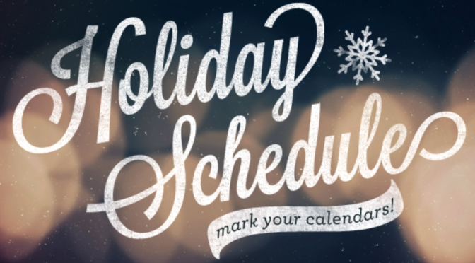 Holiday Fitness Schedule 2019